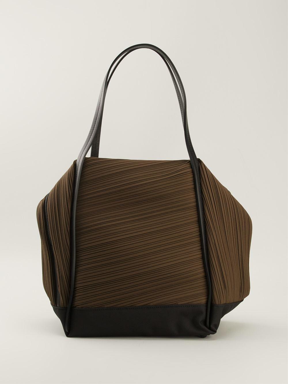 Lyst Pleats Please Issey Miyake Pleated Tote Bag In Brown