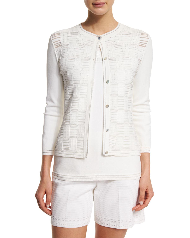 St. john Transparent Grid 3/4-sleeve Cardigan in White | Lyst