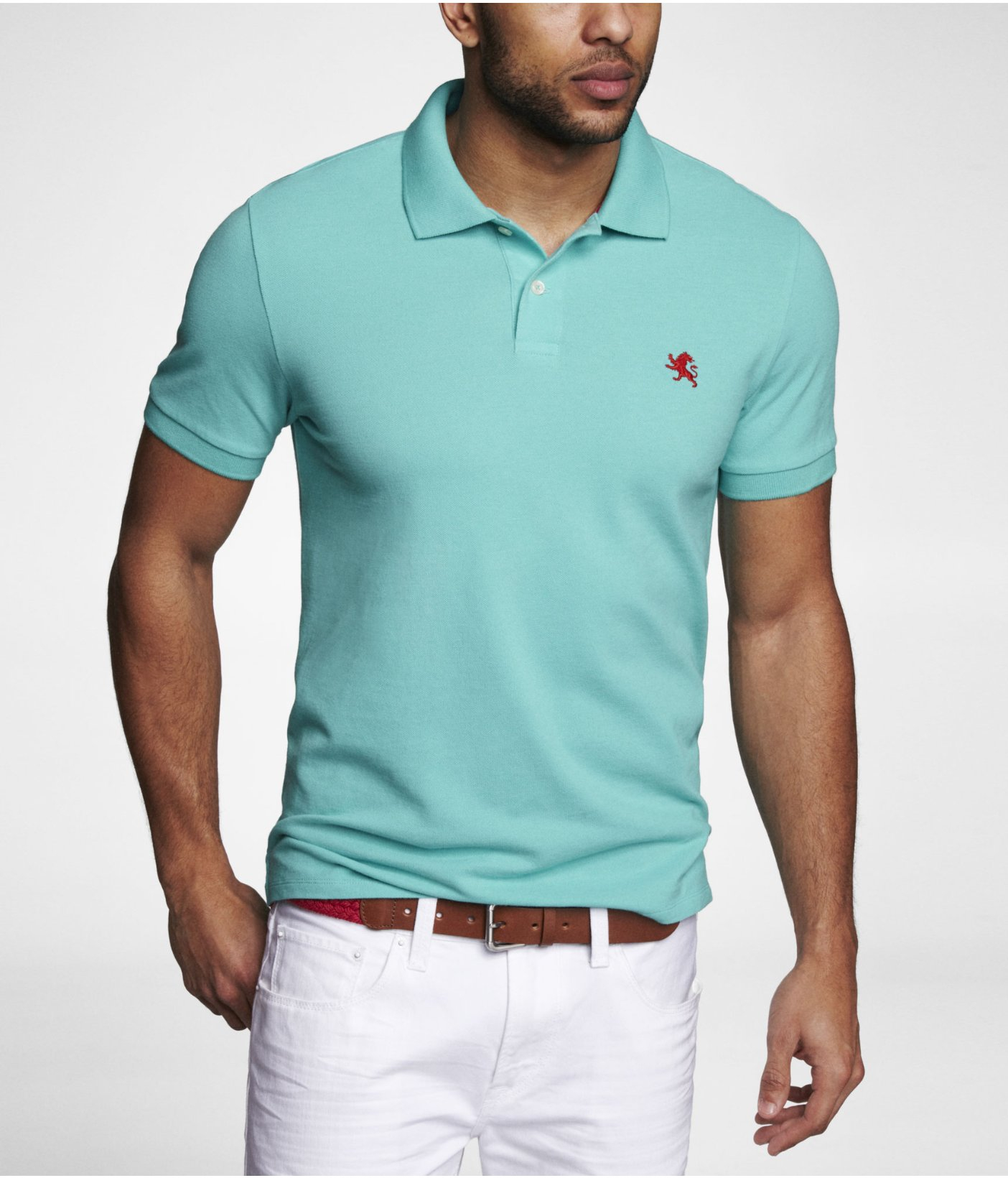 Express Fitted Small Lion Pique Polo In Blue For Men Blue