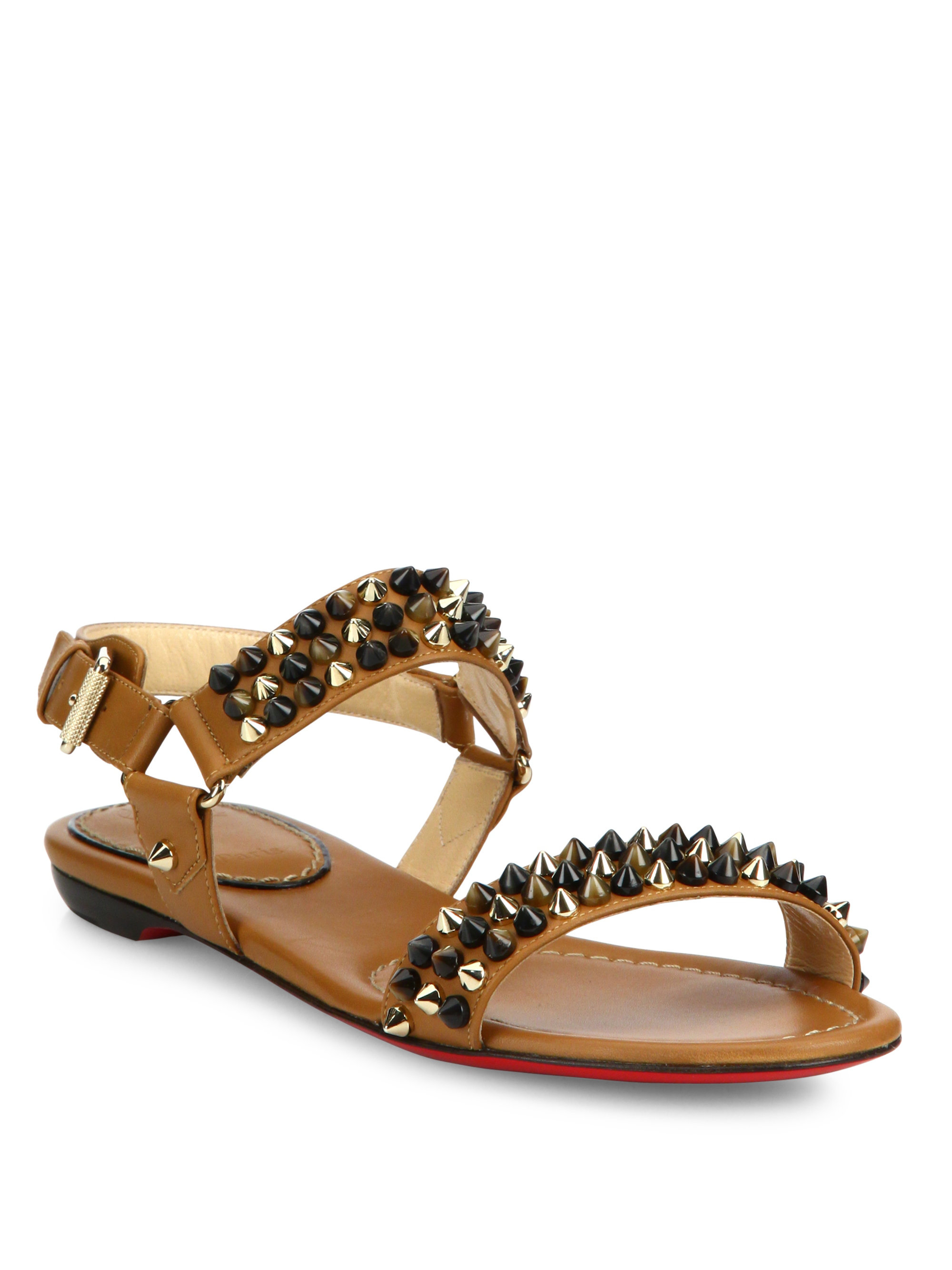 05dce4b05f4 Lyst - Christian Louboutin Bikee Bike Spiked Leather Flat Sandals in ...