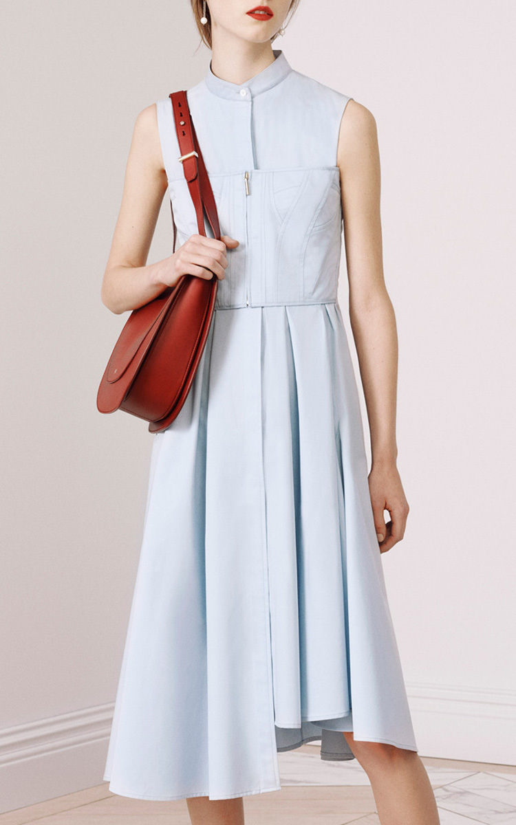 Jason WuWomen's Blue Cotton Twill Shirting Sleeveless Dress