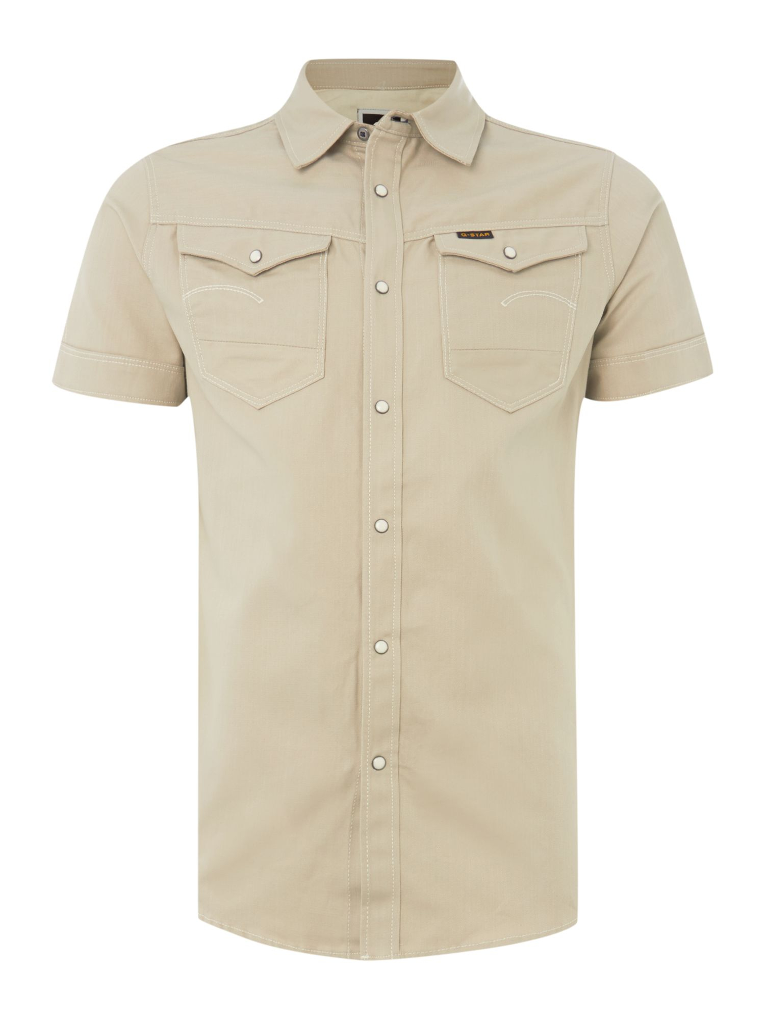 G star raw short sleeve two pocket shirt in khaki for men for Mens two pocket short sleeve shirts