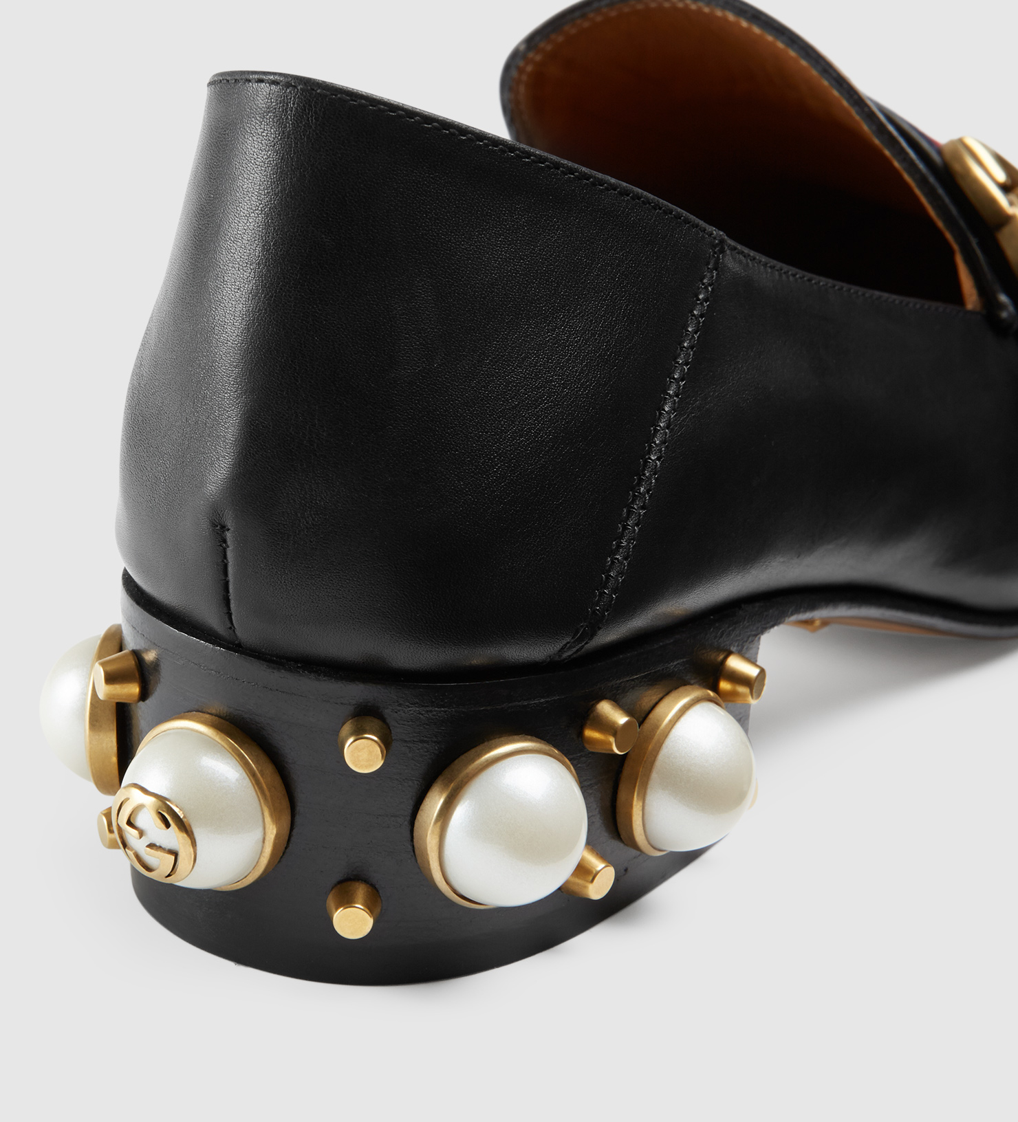 8b440baea79 Gucci Leather Mid-heel Loafer in Black - Lyst