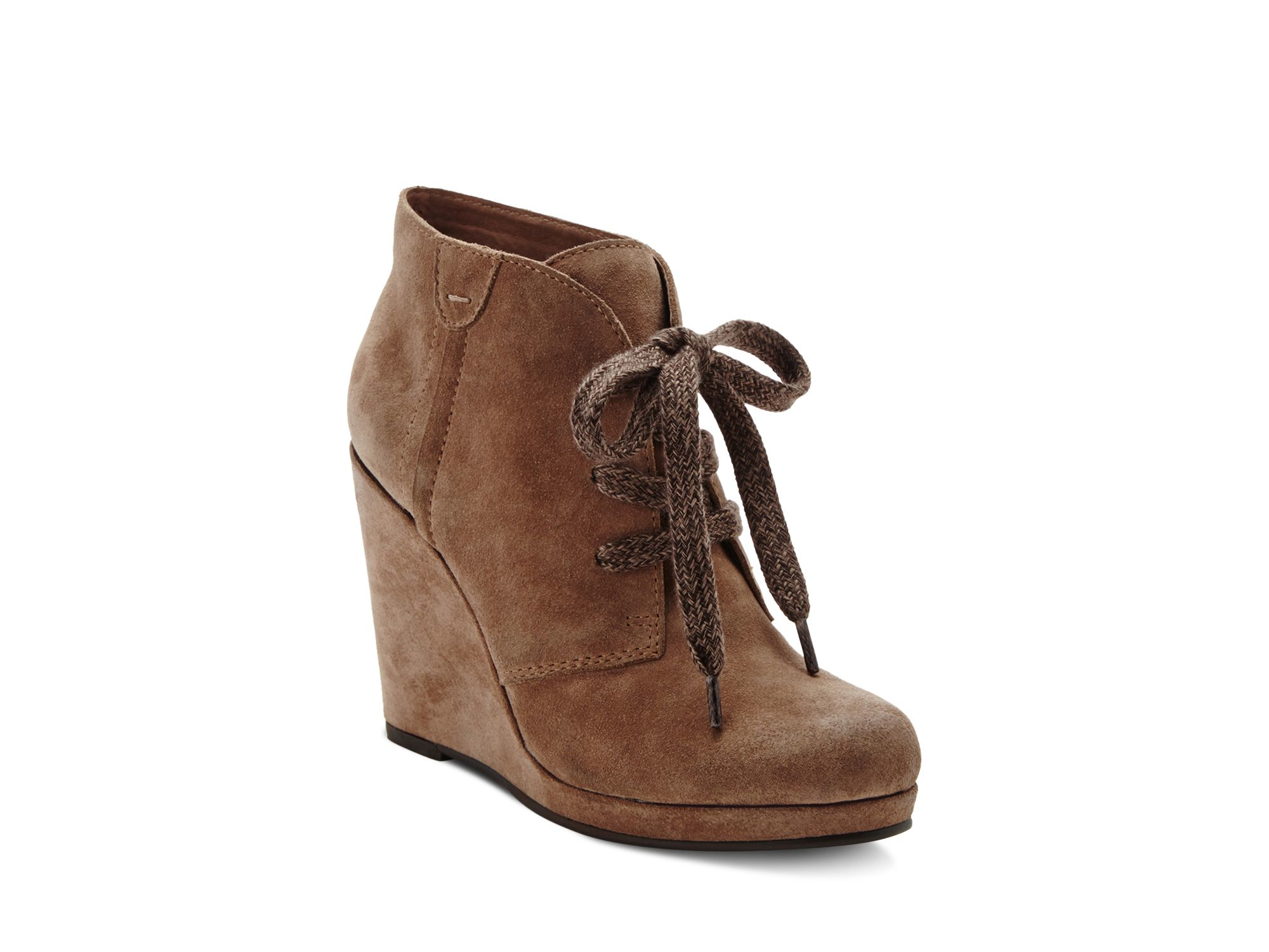 Dolce vita Gael Lace Up Wedge Booties in Brown | Lyst
