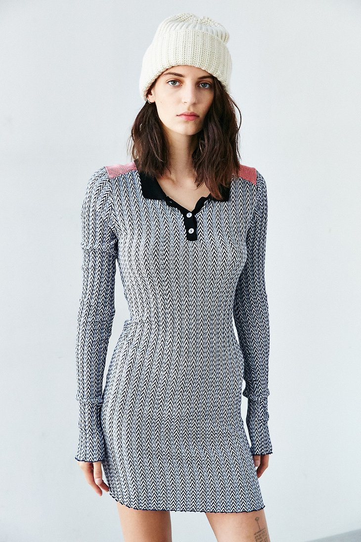 a9b25caf7e7 Lyst - Glamorous Long Sleeve Collared Chevron Sweater Dress in Blue