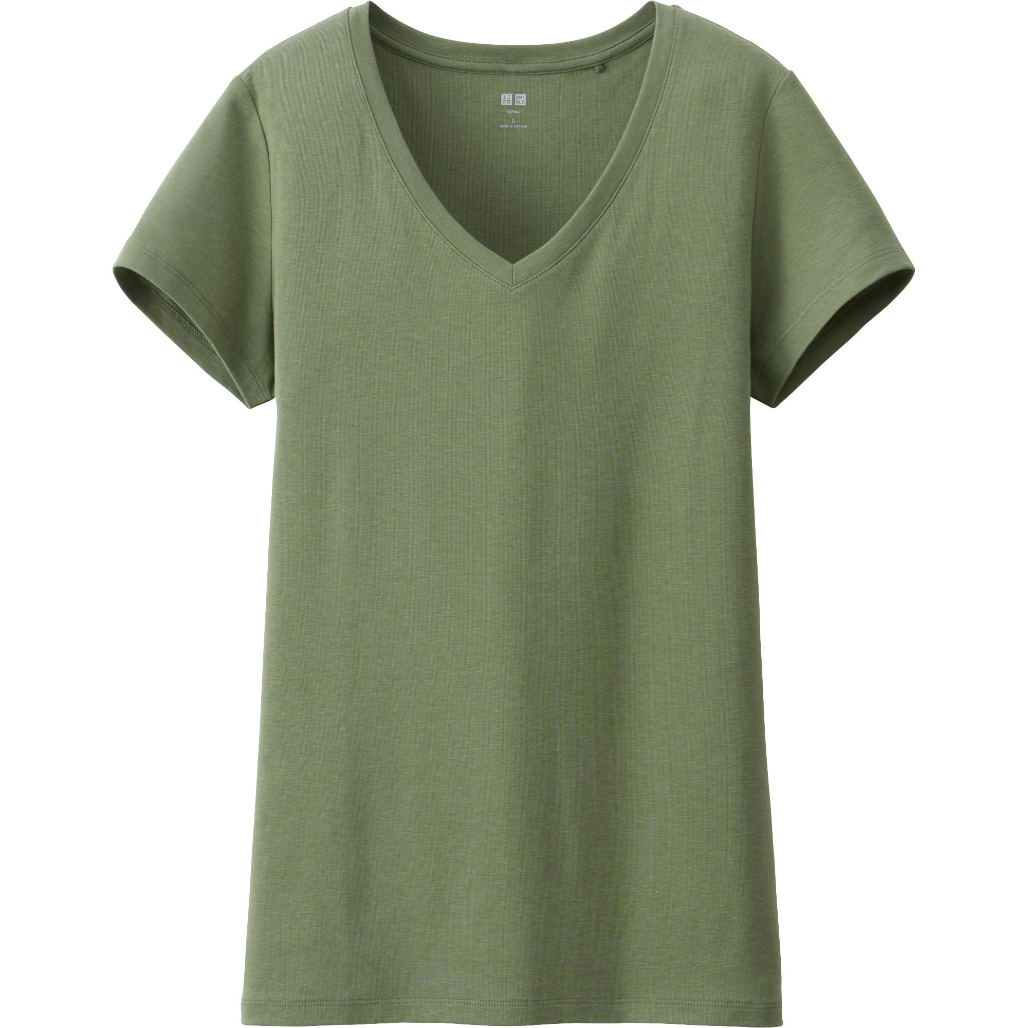 Uniqlo Women Supima Cotton Modal V Neck Short Sleeve T In