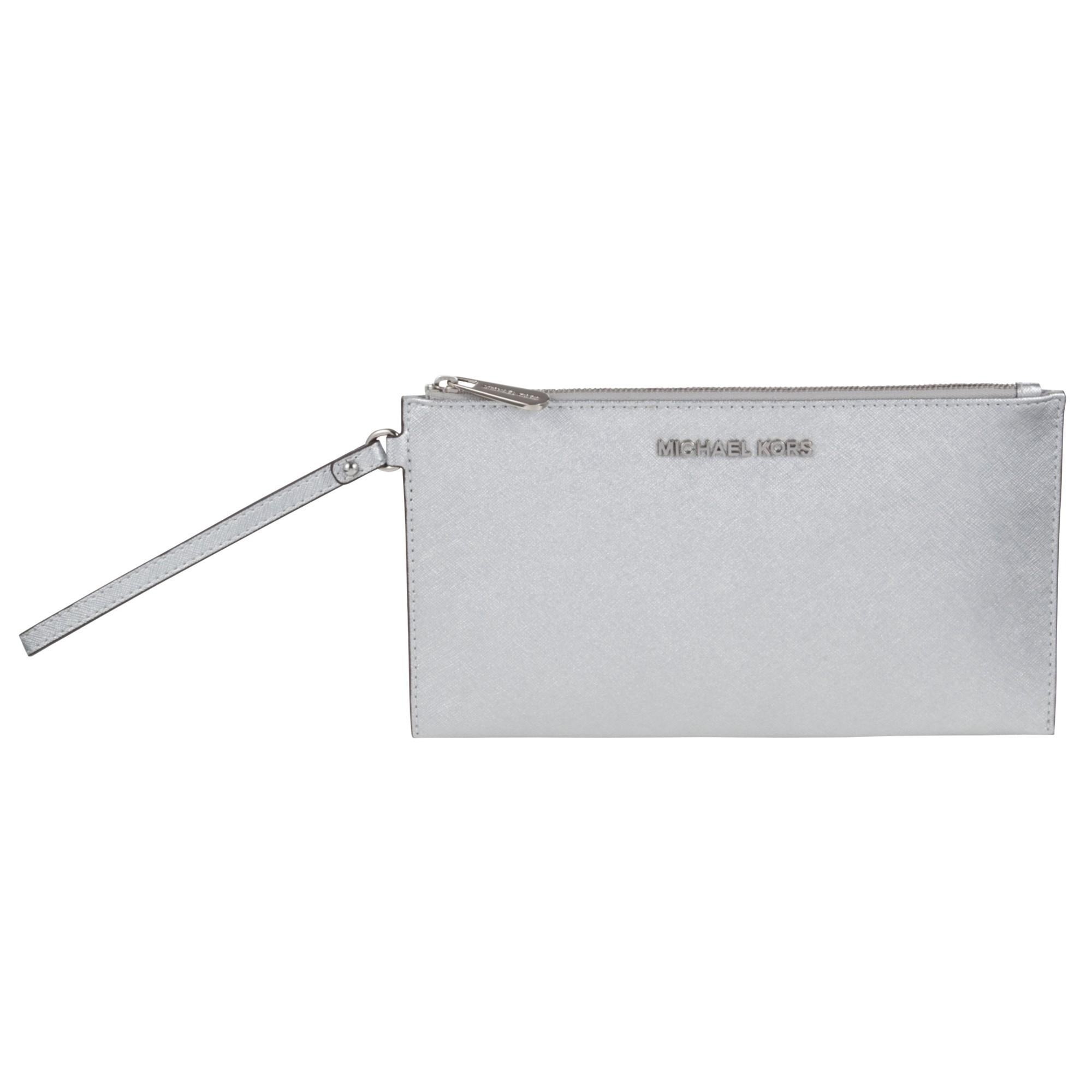 73fa248ecdeb MICHAEL Michael Kors Jet Set Travel Zip Leather Clutch Bag in ...