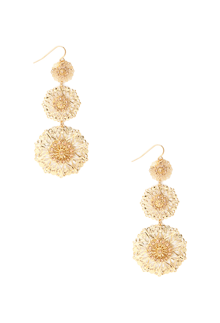 Forever 21 tiered filigree drop earrings in metallic lyst for Forever 21 jewelry earrings