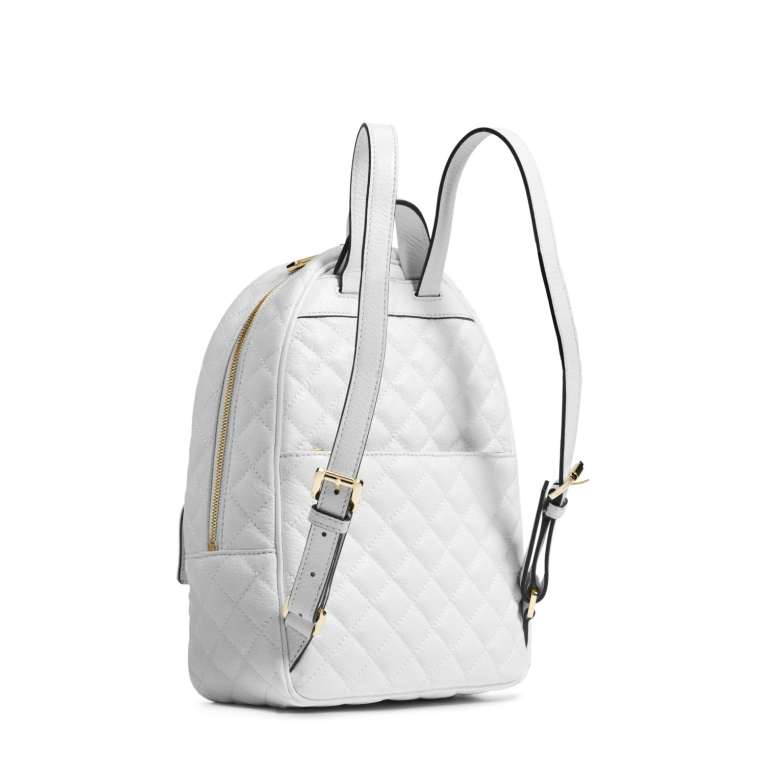 8950b35d9ab7 ... inexpensive lyst michael kors kim studded leather medium backpack in  white 4bf4a d0fe7