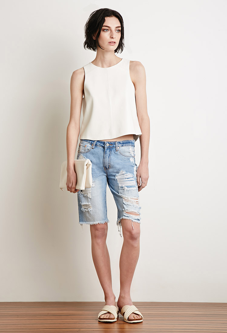 53c0fd2625 Forever 21 Distressed Bermuda Shorts in Blue - Lyst