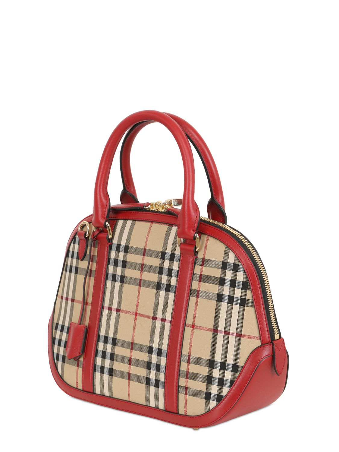 Lyst - Burberry Small Orchard Bridle House Check Bag in Red d16c42fd68