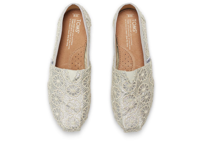 Toms Silver Crochet Glitter Womens Classics In Metallic Lyst