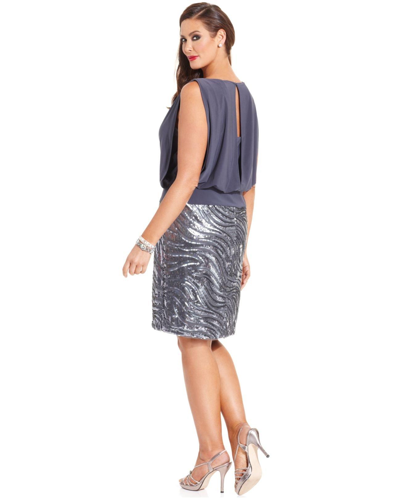Betsy & Adam Plus Size Sequin Blouson Dress in Gray - Lyst