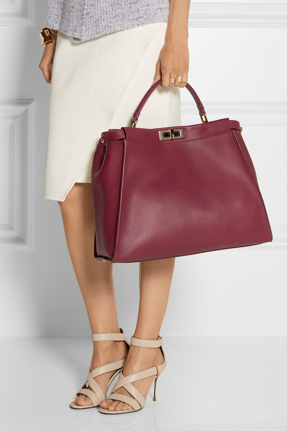 690af5c570d6 ... coupon code for lyst fendi peekaboo medium leather tote in red 1b07b  87909