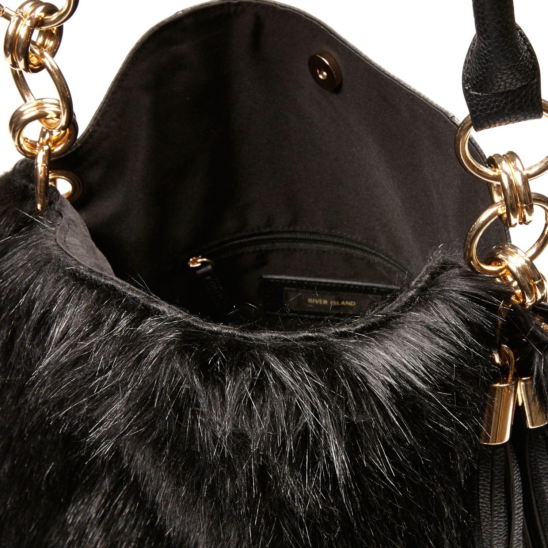 1c2d0517c0a7 River Island Black Faux Fur Slouchy Handbag in Black - Lyst