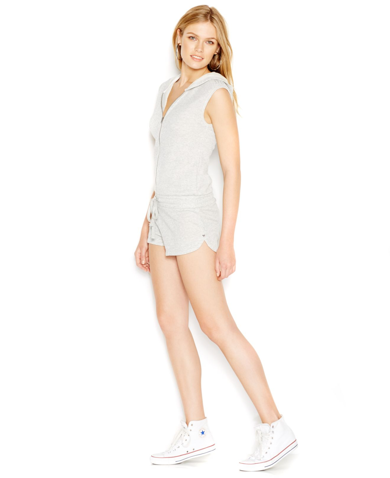 8dbb1028016 Lyst - Guess Sleeveless Zip-front Hooded Romper in Gray
