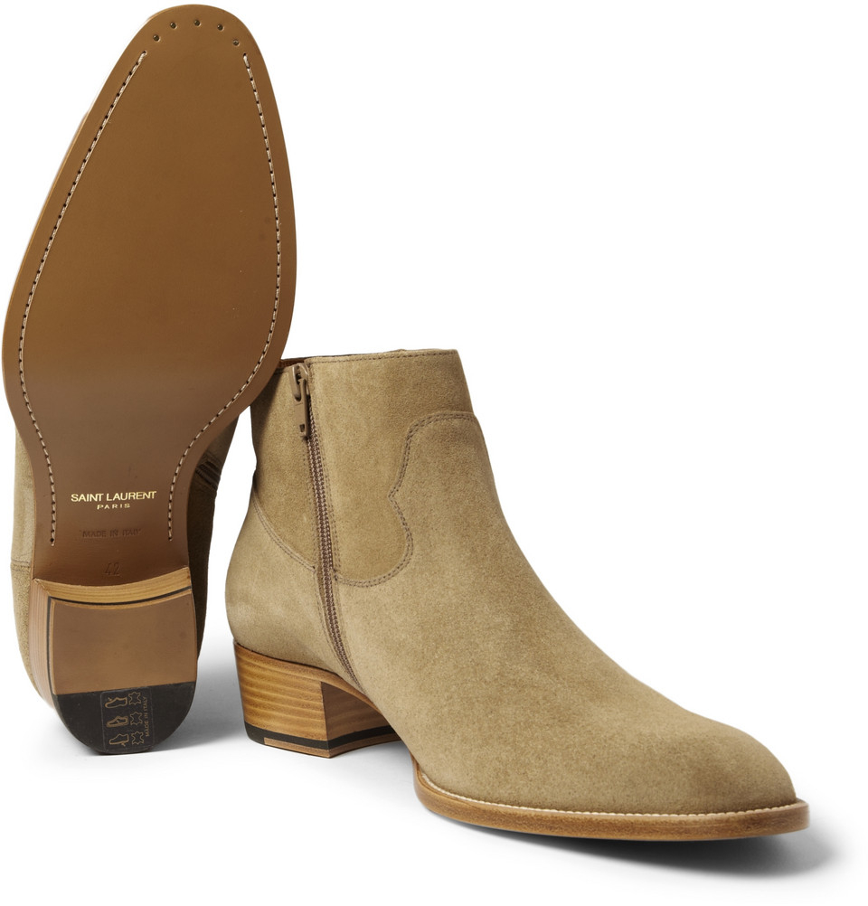 Outlet Order Online Clearance Genuine Saint Laurent Suede Booties Buy Cheap Countdown Package Eastbay Cheap Online xQjgEn