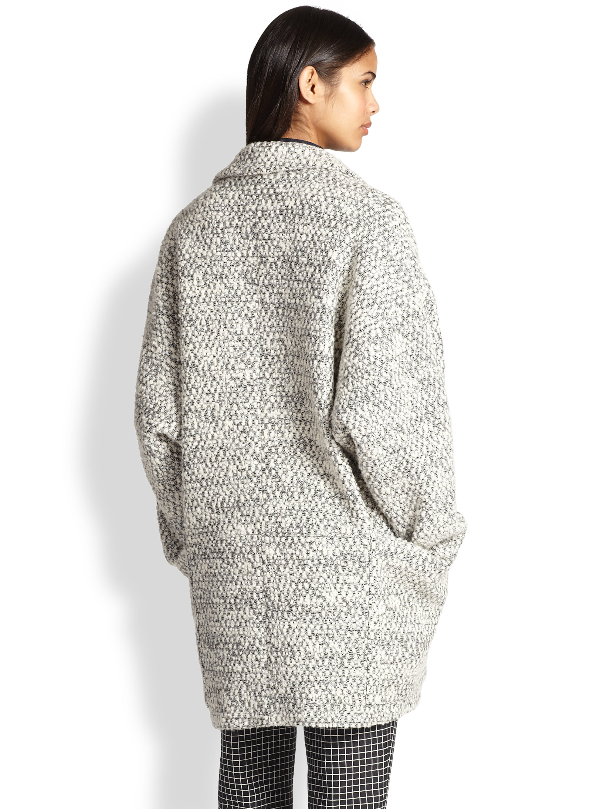 Lyst Apiece Apart Oversized Boucl 233 Cocoon Coat In Gray
