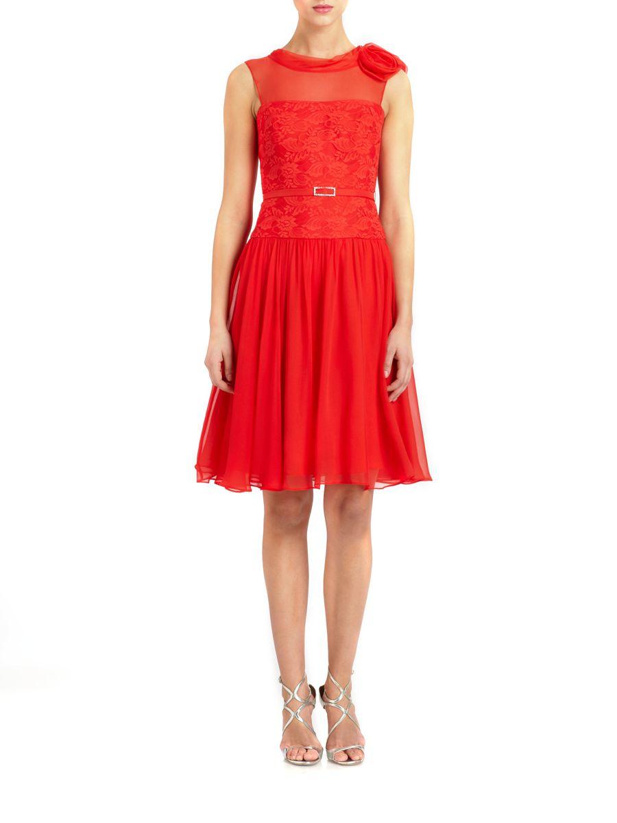 teri jon silk chiffon belted lace bodice dress in