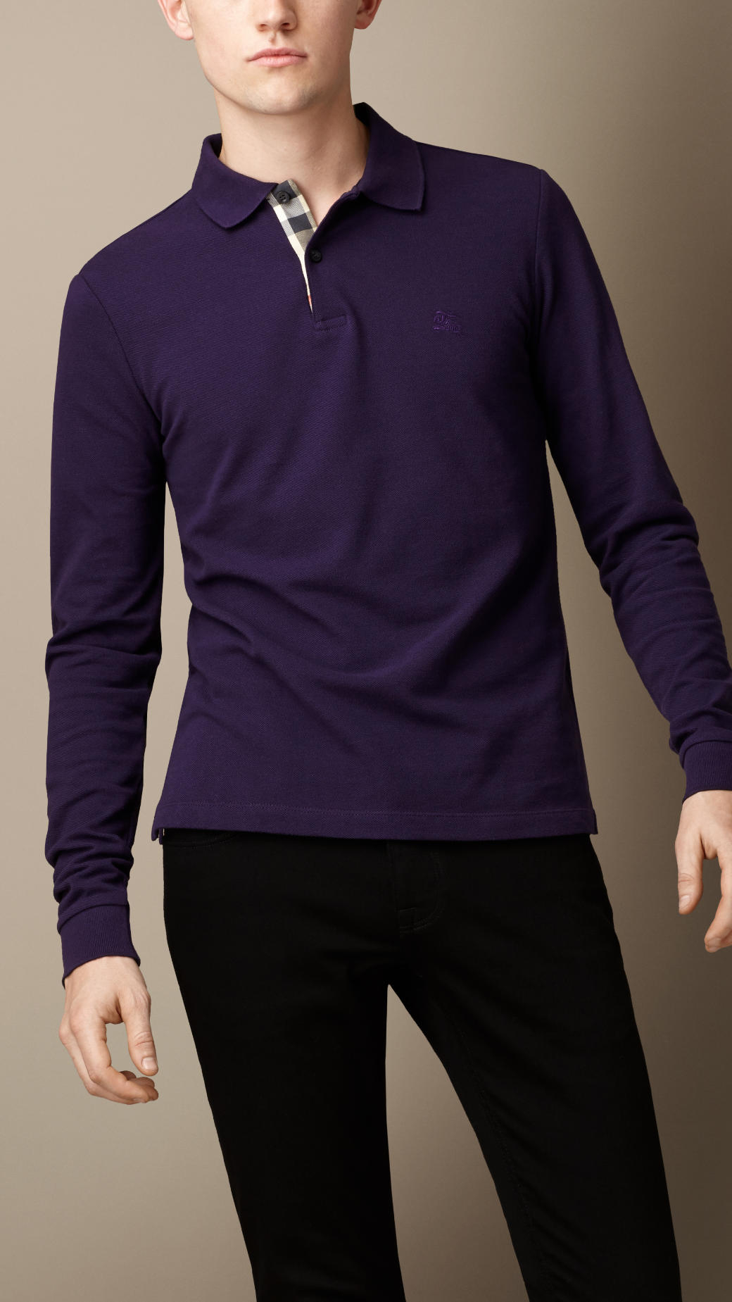 f2060ed44 Burberry Long Sleeve Polo Shirt in Purple for Men - Lyst