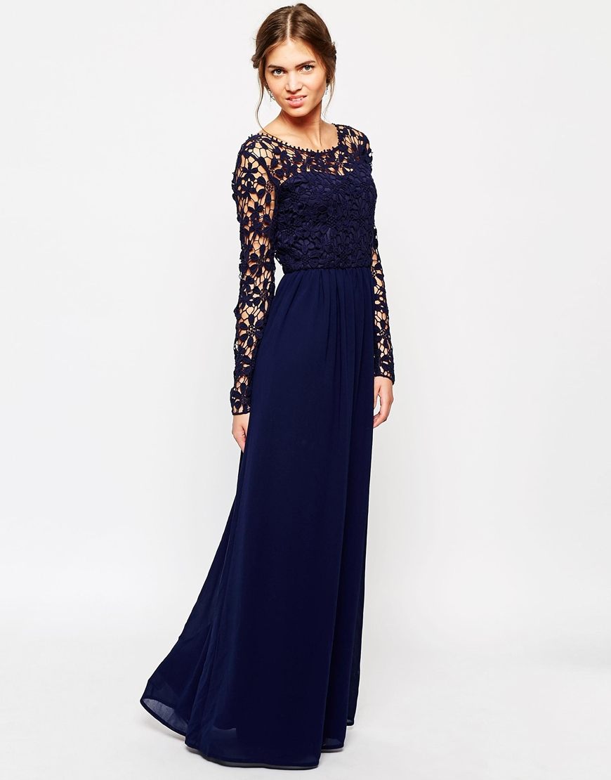 Lyst - Club L Crochet Maxi Dress With Long Sleeves in Blue