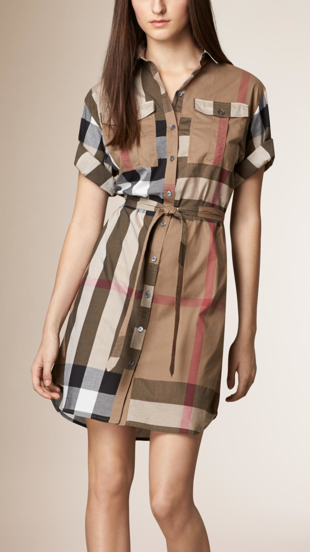 Lyst burberry check cotton box fit shirt dress in brown for Ladies brown check shirt