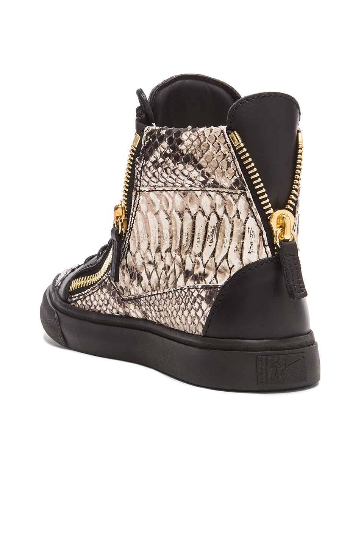 Giuseppe zanotti Python Embossed Sneakers in Black | Lyst