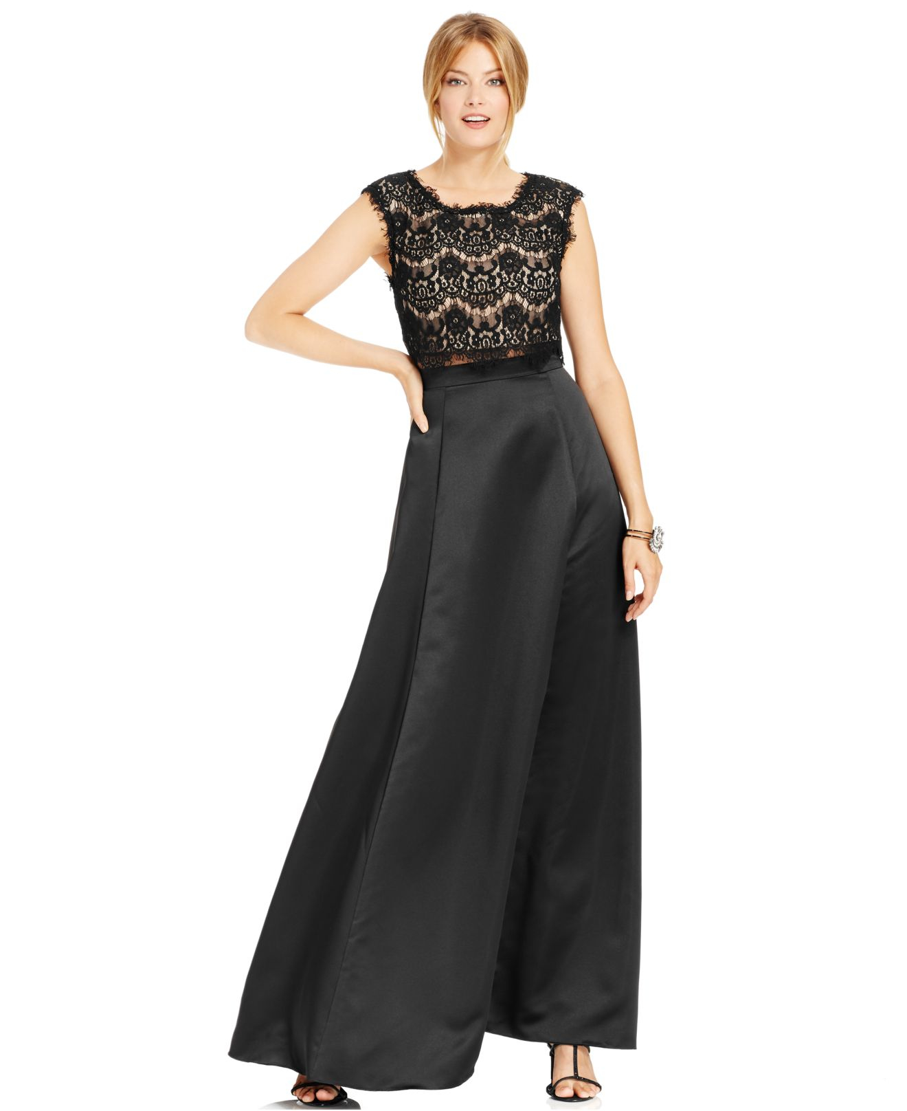 Betsy Amp Adam Mock Two Piece Lace Ball Gown In Black Lyst