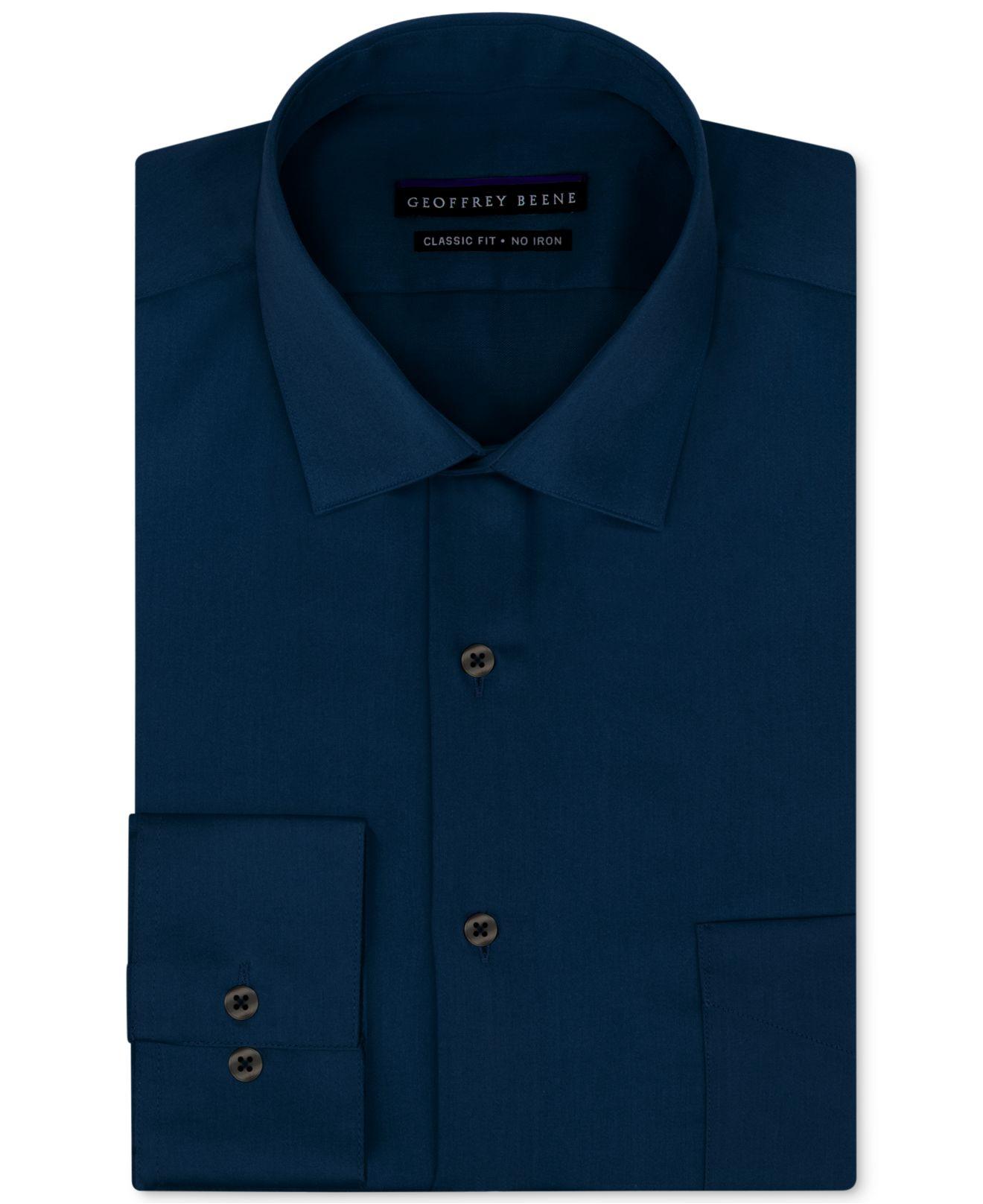 Lyst Geoffrey Beene Non Iron Sateen Solid Dress Shirt In Blue For Men