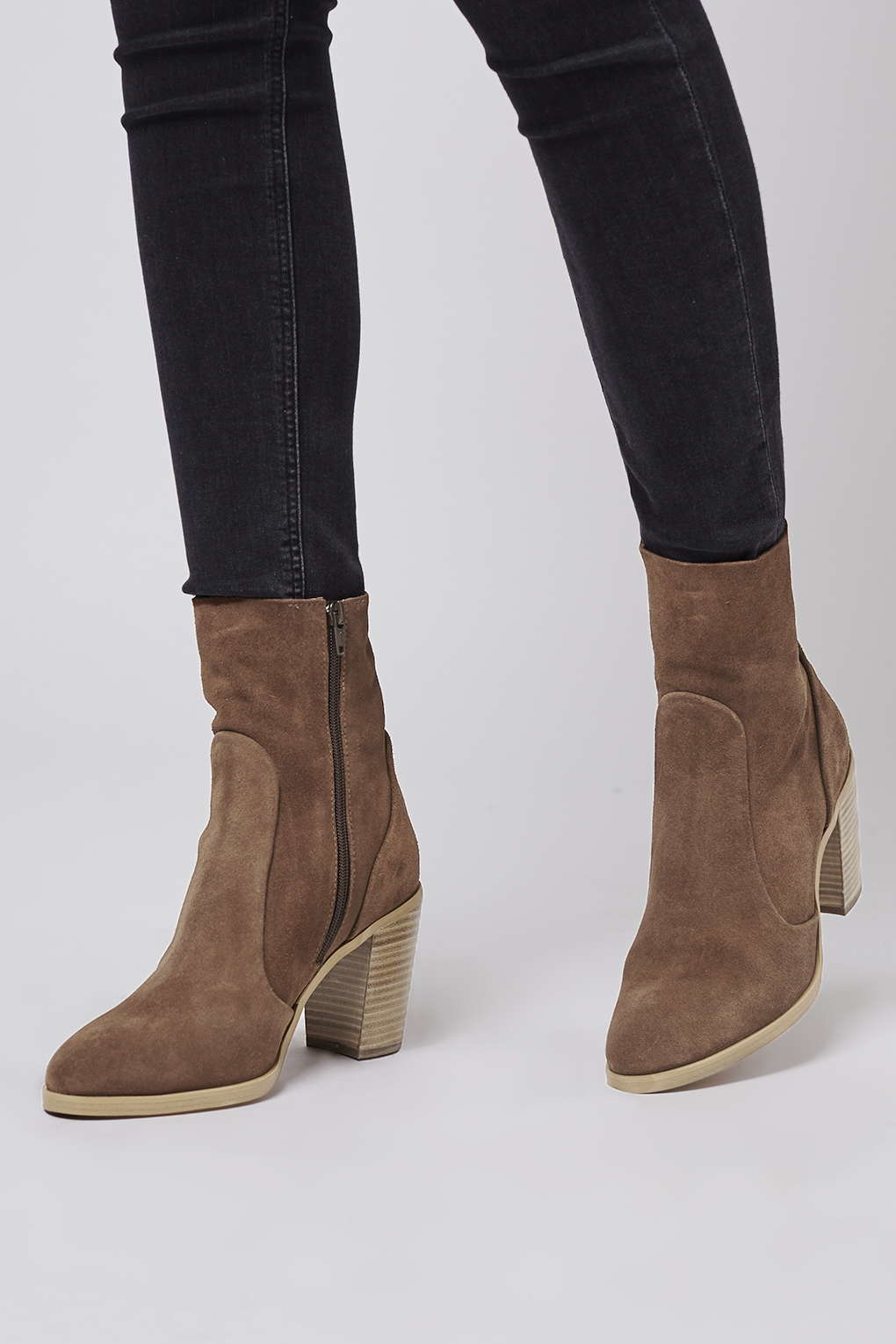 topshop magnificent suede sock boots in brown lyst