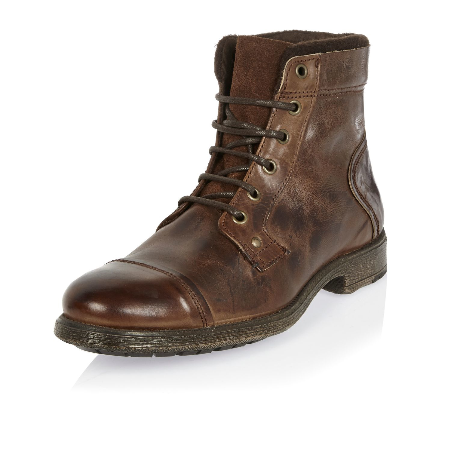 Lyst River Island Dark Brown Leather Utility Boots In