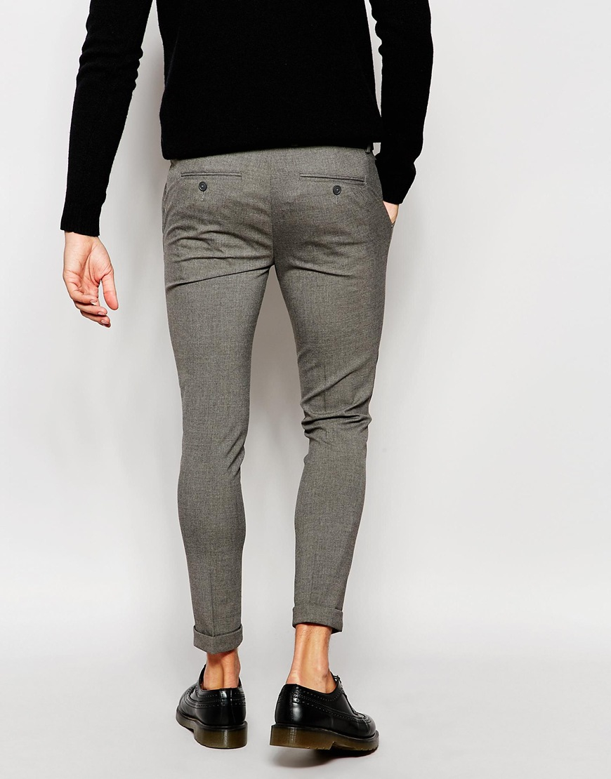 Lyst Asos Super Skinny Smart Cropped Trousers In Gray For Men