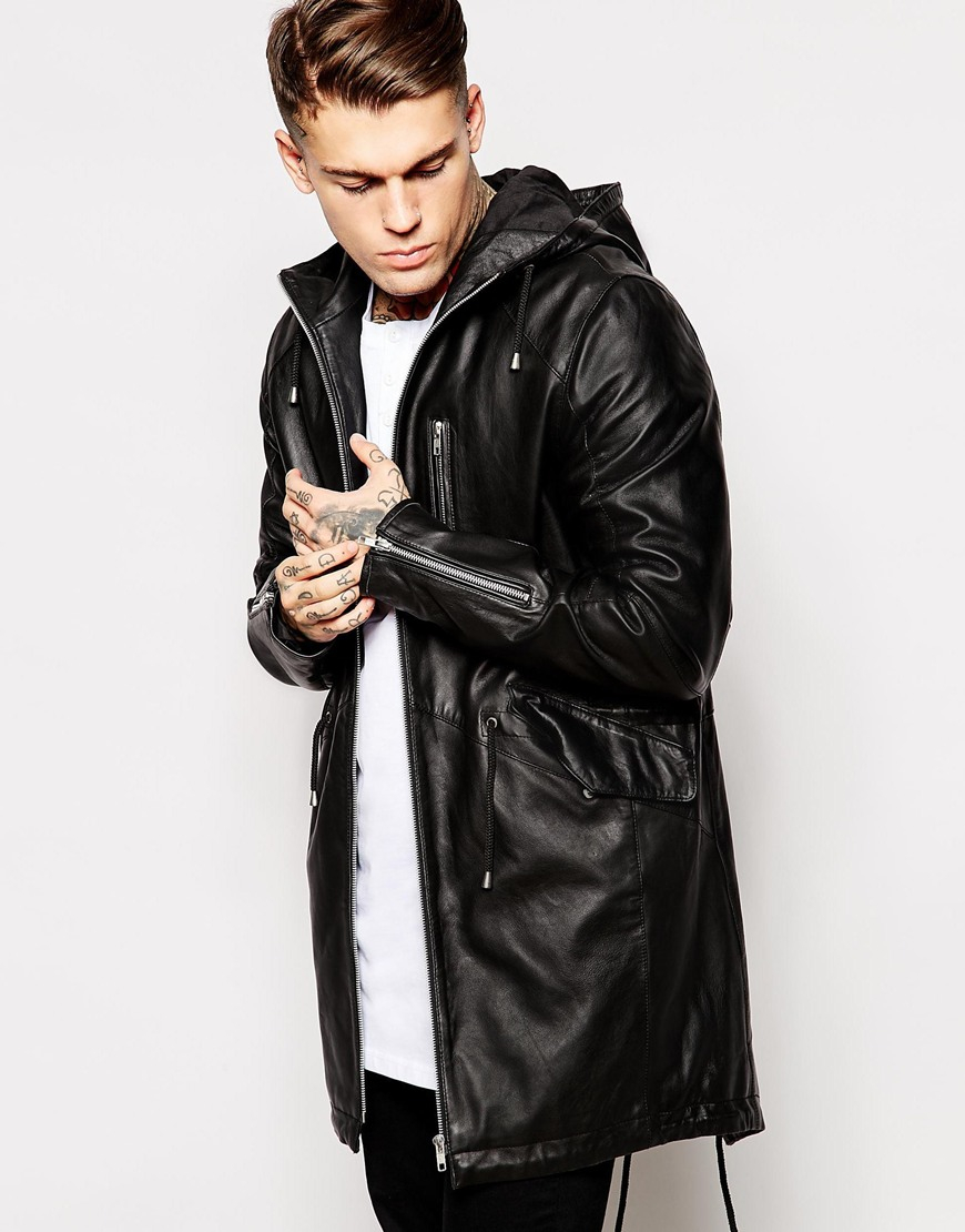Asos Leather Parka Jacket In Black in Black for Men | Lyst