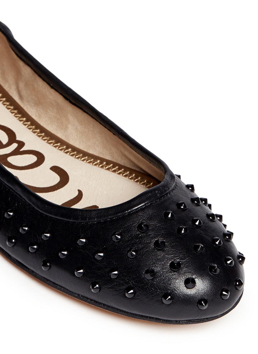 1f8c08cdb779b5 Lyst - Sam Edelman  forsyth  Stud Leather Flats in Black
