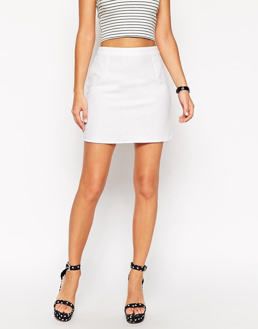 5da82d56fafd Lyst - ASOS A-line Linen Mini Skirt in White