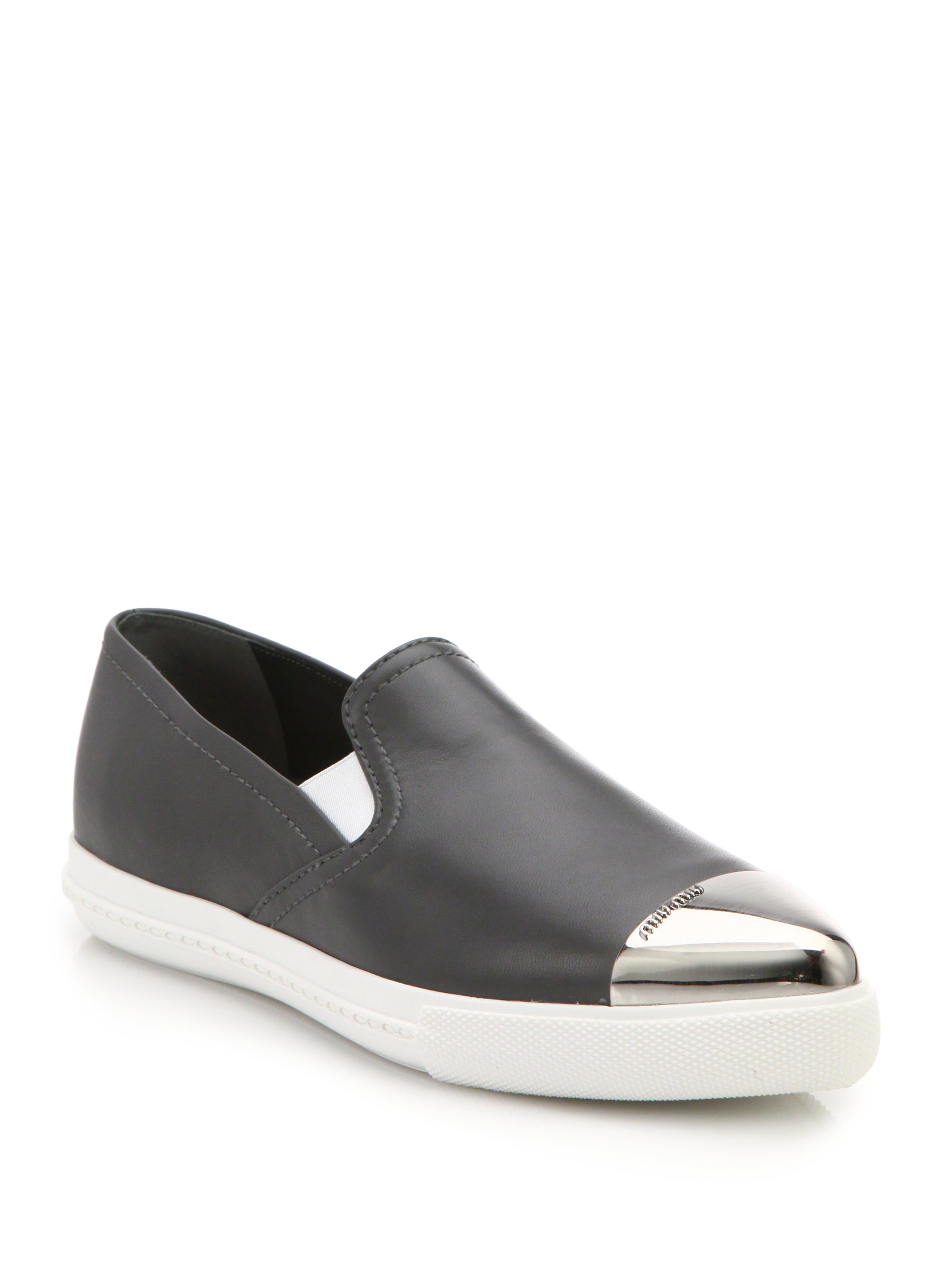 miu miu leather cap toe slip on sneakers in gray lyst. Black Bedroom Furniture Sets. Home Design Ideas