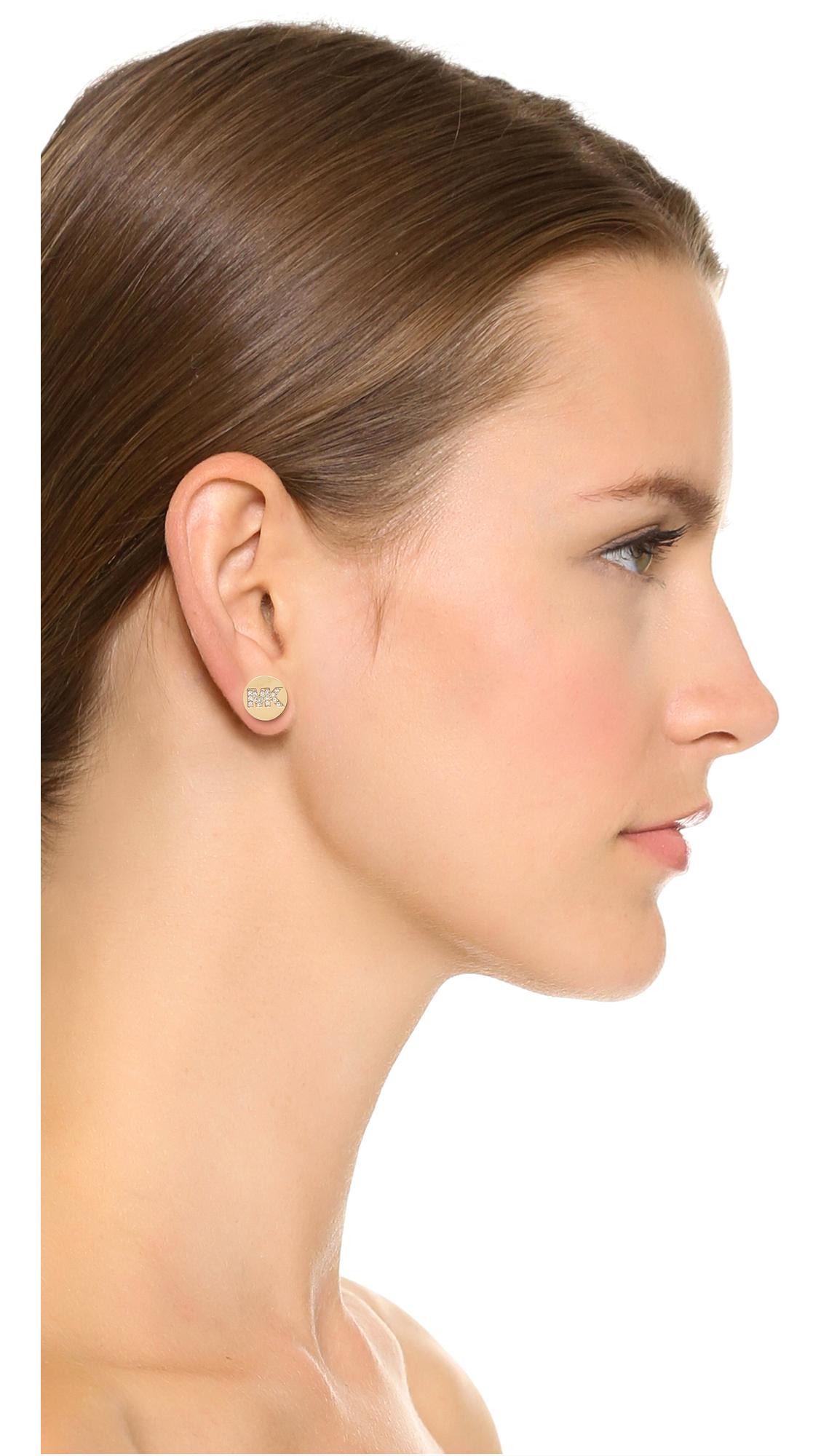 916646839f10 Michael Kors Silver Tone Logo Pave Stud Earrings - The Best Produck ...