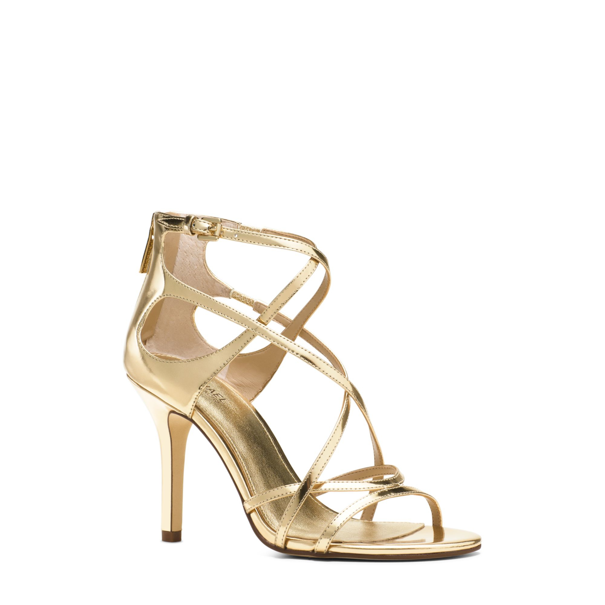c78429bc56d6 Lyst - Michael Kors Linette Leather Sandal in Metallic
