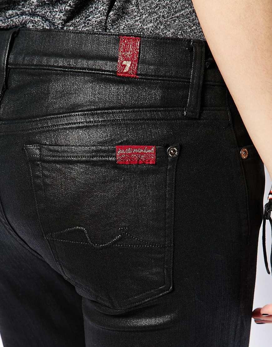 7 for all mankind Leather Look Skinny Jeans in Black | Lyst