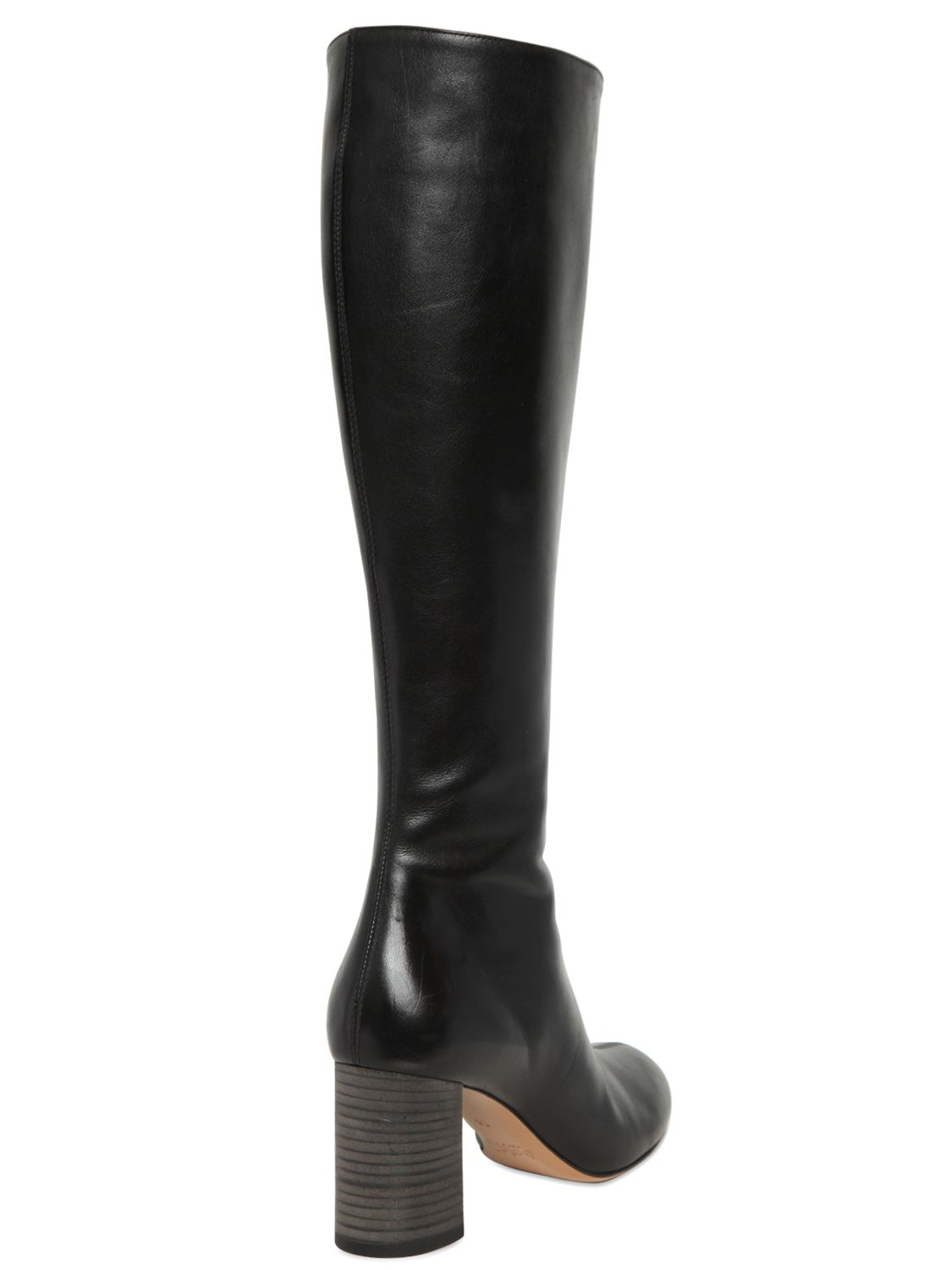 chlo 233 70mm plain leather boots in black lyst