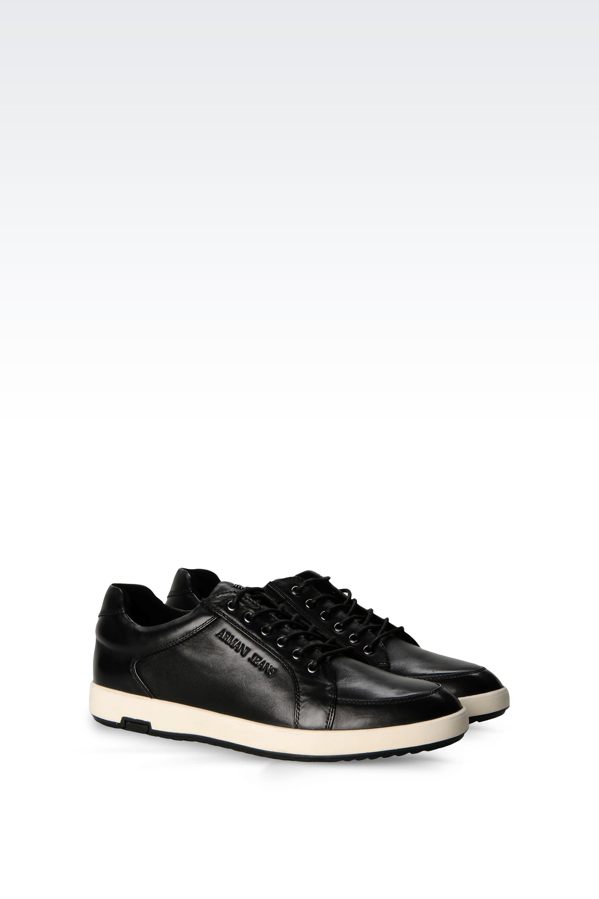 armani jeans sneaker in black for men lyst. Black Bedroom Furniture Sets. Home Design Ideas