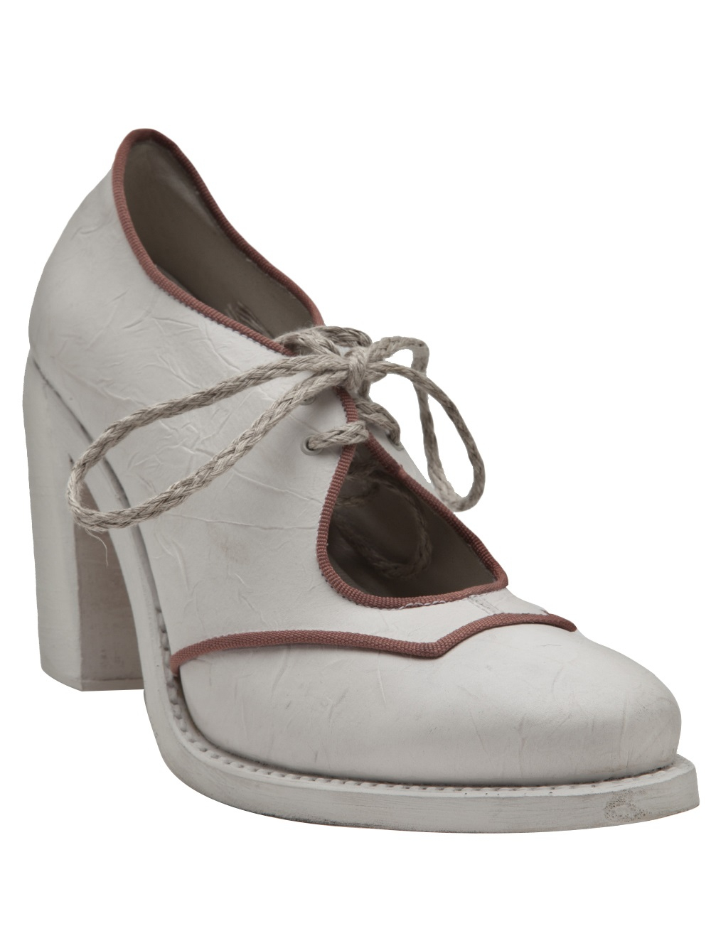 cherevichkiotvichki chunky heel ankle boot in white lyst