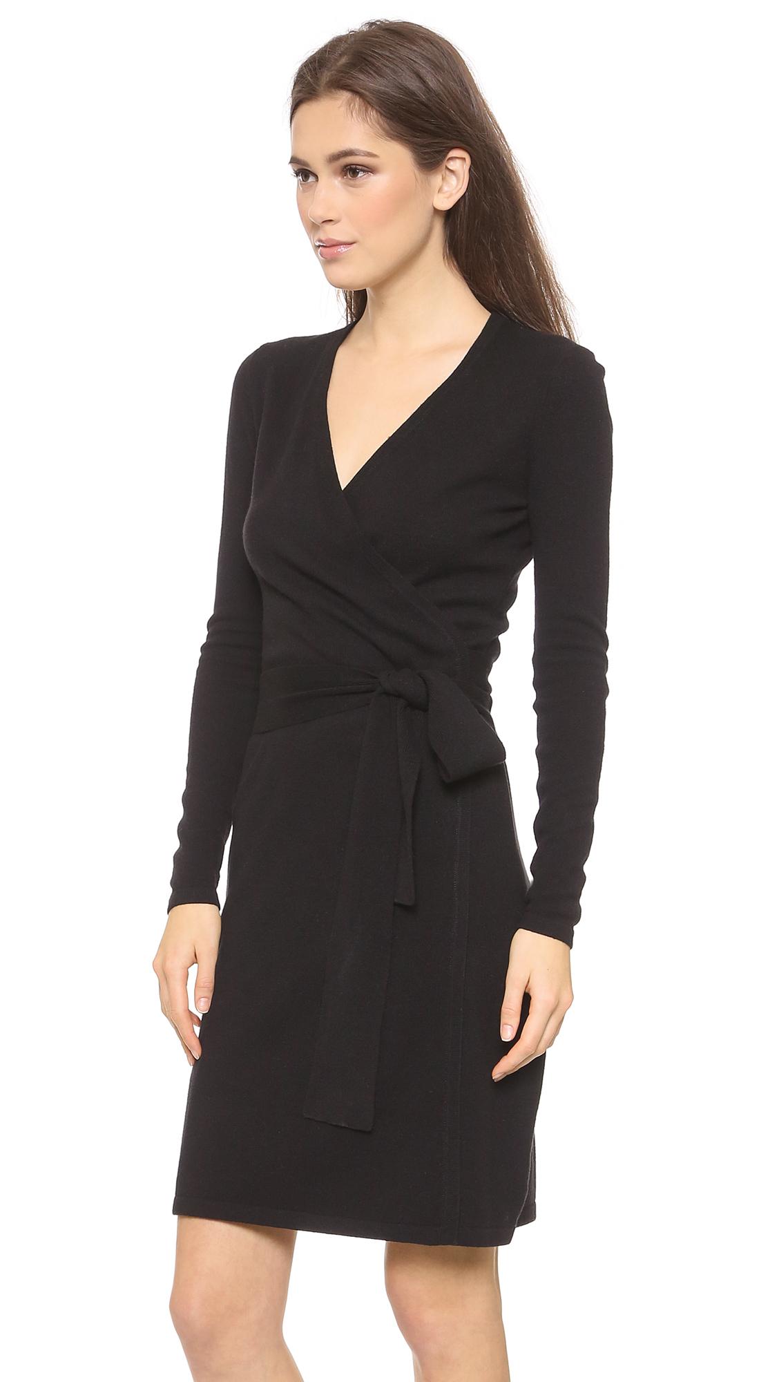 Diane von furstenberg Linda Wrap Sweater Dress - Black in Black | Lyst