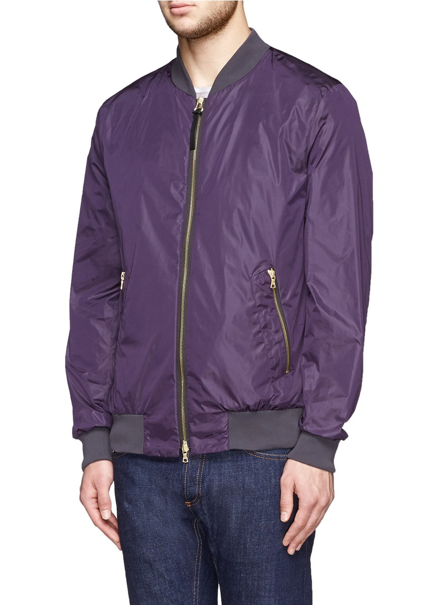 Ps by paul smith Satin Bomber Jacket in Purple for Men | Lyst