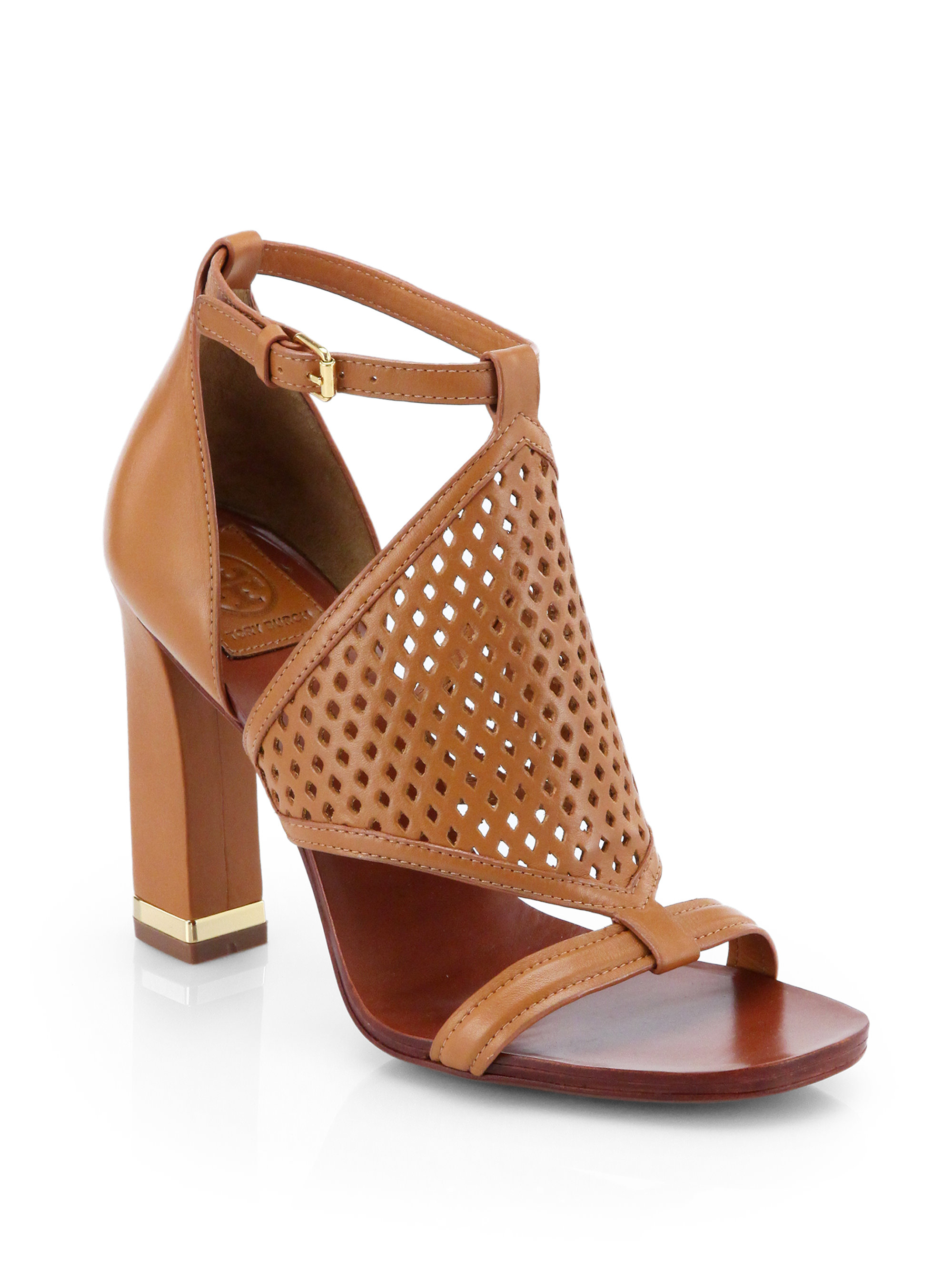 Lyst Tory Burch Doris Perforated Leather Sandals In Brown