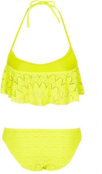 Topshop Lime Crochet Shelf Bikini In Green Lime Lyst