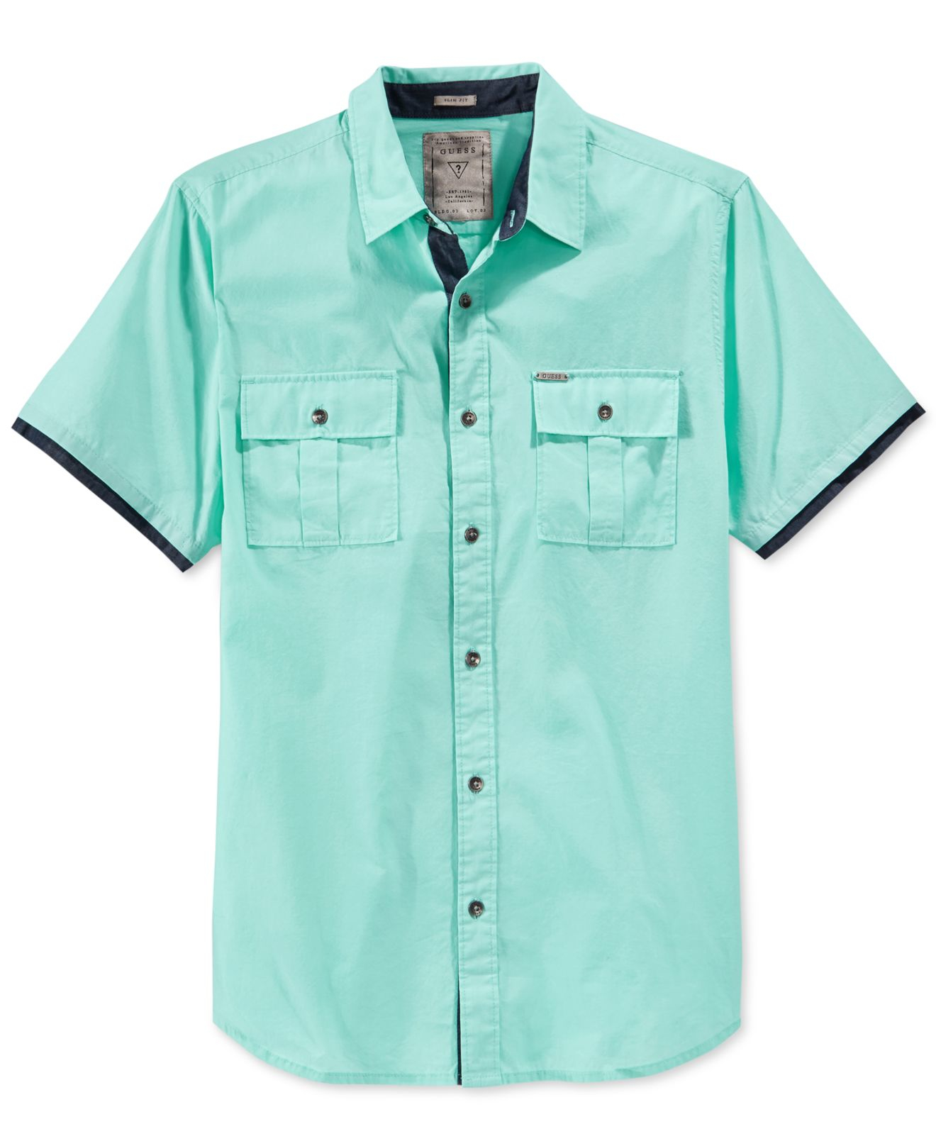 644390920 Lyst - Guess Men s Carson Short-sleeve Military Shirt in Blue for Men