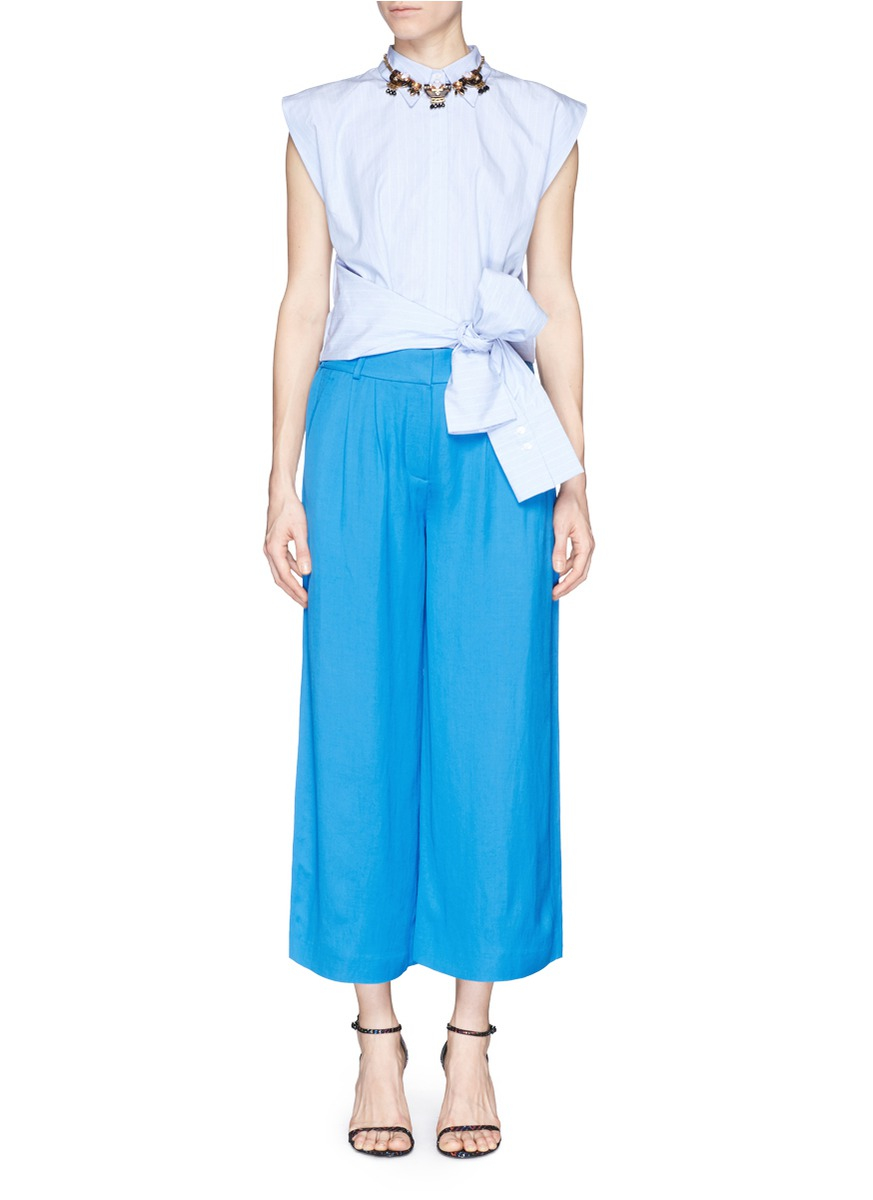 J.crew Collection Cropped Linen Pant in Blue | Lyst