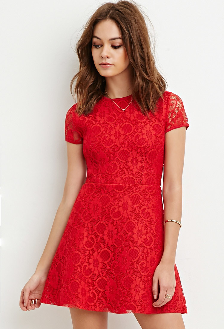 Forever 21 Floral Lace A-line Dress in Red | Lyst