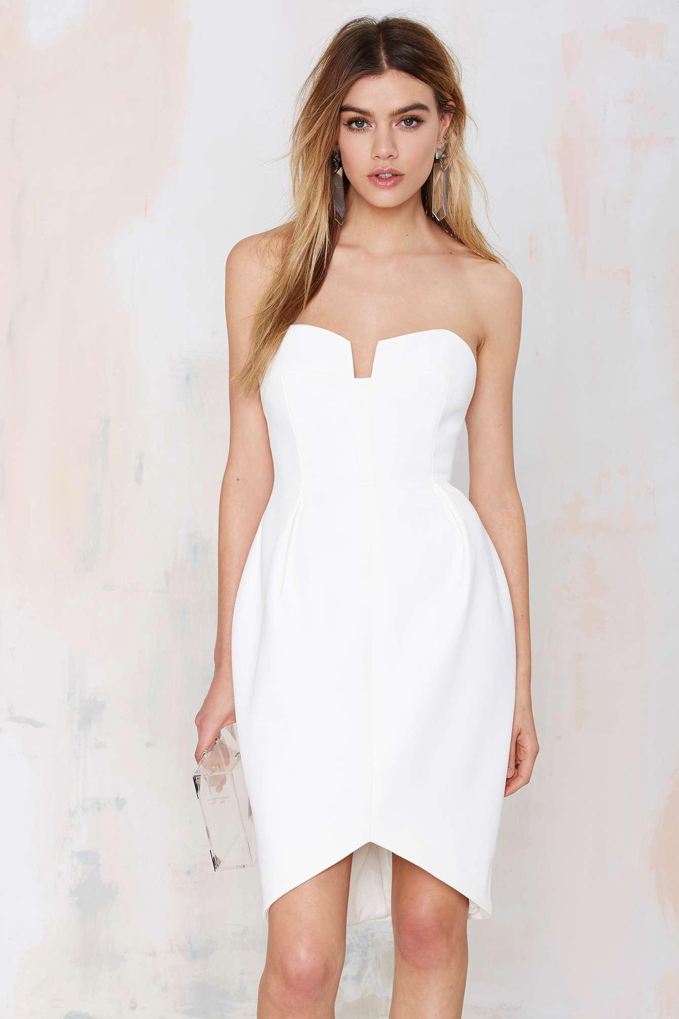 Keepsake Divide Strapless Dress in White | Lyst